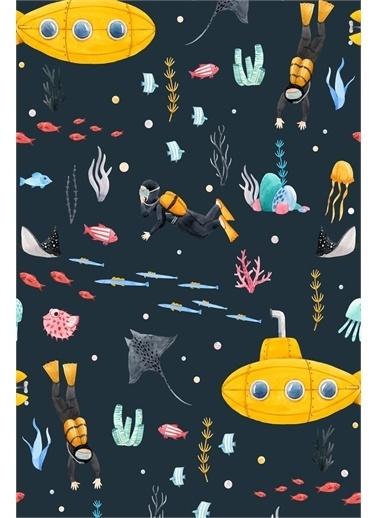 Frenda Frenda Home Denizaltı Kaymaz Deri Taban Dekoratif Halı Lacivert